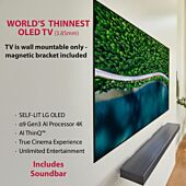 LG OLED TV 65 inch WX Series 3.85mm thin Wallpaper Design with Sound Bar