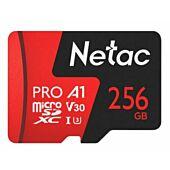 Netac P500 Extreme Pro 256GB Class 10 V10 U1 MicroSDXC Card & Adapter