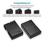 RAVPOWER 2x 1000mAh Replacement Batteries for Nikon EN-EL14(A) with Charger Set Black