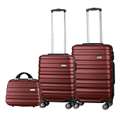 Travelwize Rio ABS 3 Piece Luggage Set Grey and Burg