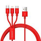 Orico 3in1 1xLightning|1xUSB-C|1xMirco USB 1.2m ChargeSync Cable Red