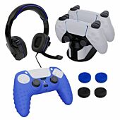 Sparkfox PlayStation 5 Combo Gamer Pack with Headset|Grip Pack|Controller Skin|Charging Dock